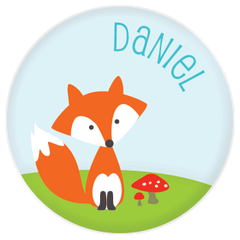 personalized kids plate | cheerful fox