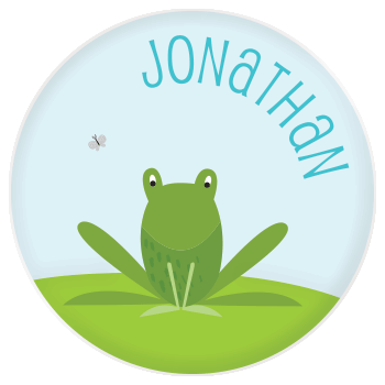 personalized kids plate | cheerful frog
