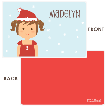 personalized Christmas placemat | girl