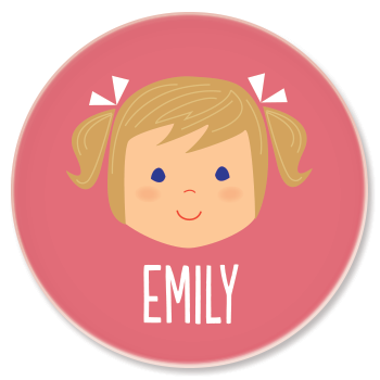 personalized childrens plate | girl face