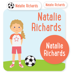 custom name labels | soccer | girl