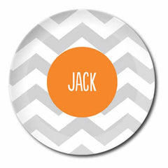 personalized plate | gray chevron