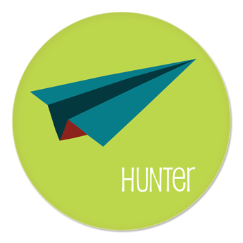 personalized kids plate | green and blue paper airplane