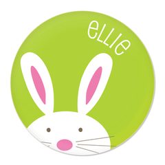 personalized bunny plate | green
