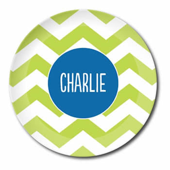 personalized plate | green chevron