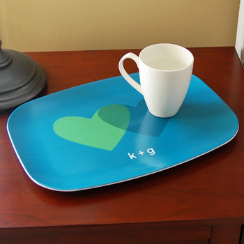 personalized platter | teal hearts