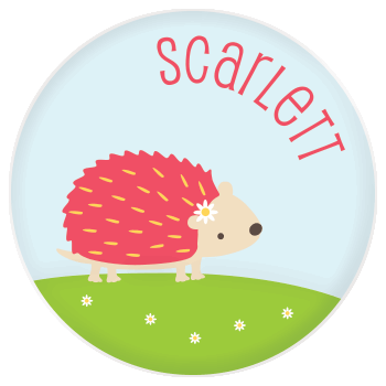 personalized kids plate | cheerful hedgehog