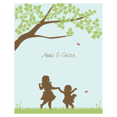 personalized childrens art print | kids at play | 2 kids