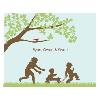 personalized childrens art print | kids at play | 3+ kids