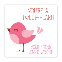 personalized Valentine's Day gift labels | pink bird