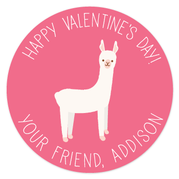 personalized Valentine's Day gift labels | pink llama