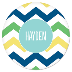 personalized plate | multi-chevron blue