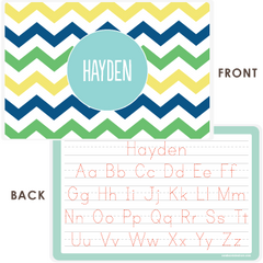 personalized kids placemat | multi-chevron blue