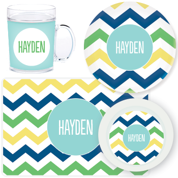 personalized mealtime set | multi-chevron blue