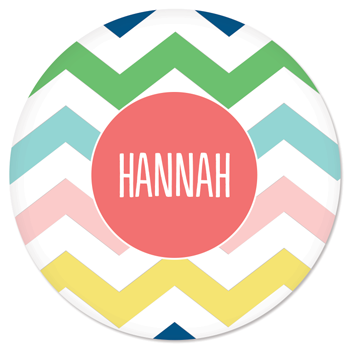 personalized plate | multi-chevron pink