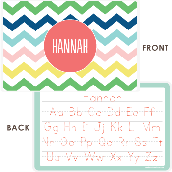 personalized kids placemat | multi-chevron pink
