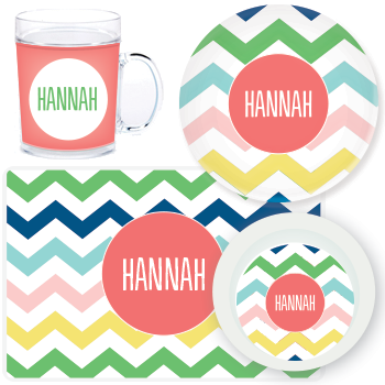 personalized mealtime set | multi-chevron pink