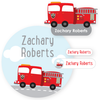 name labels | fire truck