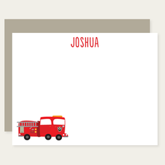 personalized fire truck note cards