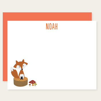 personalized fox note cards