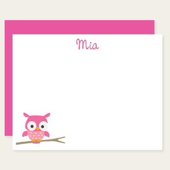 personalized pink owl note cards