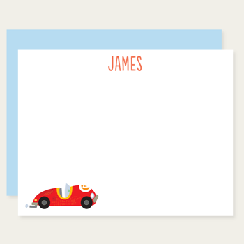 personalized race car note cards