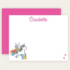 personalized rainbow unicorn note cards