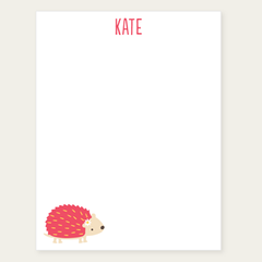 personalized notepad | pink hedgehog