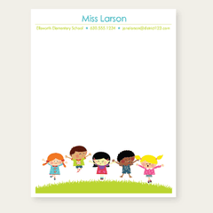 personalized teacher notepad | kids jumping