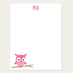 personalized notepad | pink owl