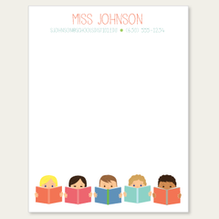 personalized teacher notepad | kids reading