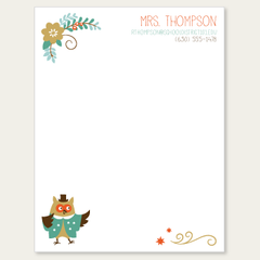 personalized teacher notepad | scholarly owl