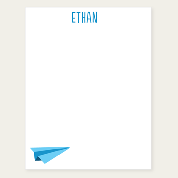 personalized notepad | paper airplane