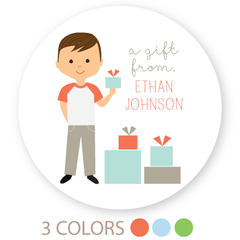 "custom boy gift labels | 3"" circles"