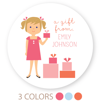 "custom girl gift labels | 3"" circles"
