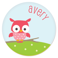 personalized kids plate | cheerful owl