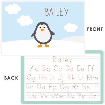 personalized kids placemat | penguin