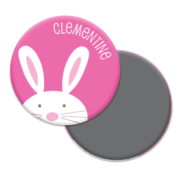 personalized bunny magnet | pink