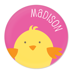 personalized chick plate | pink