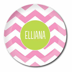 personalized plate | pink chevron