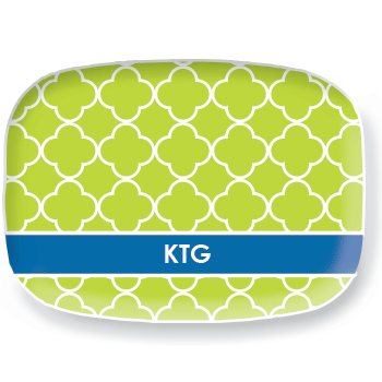 personalized platter | green quatrefoil
