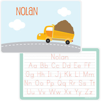 personalized kids placemat | dump truck