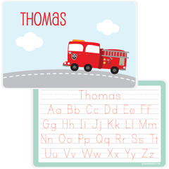 personalized kids placemat | fire truck