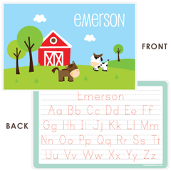 personalized kids placemat | horse and cow