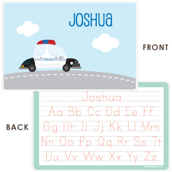 personalized kids placemat | police car