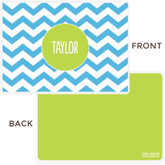 personalized chevron placemat | blue