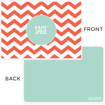 personalized chevron placemat | coral
