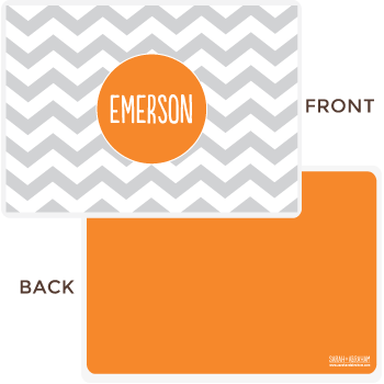 personalized chevron placemat | gray