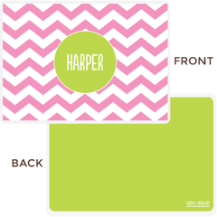personalized chevron placemat | pink