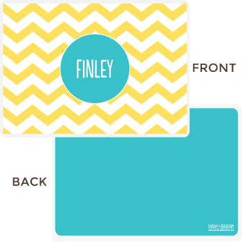 personalized chevron placemat | yellow
